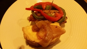 Goat Cheese and Caramelized Onion Tapa and Meat and Red and Green Pepper Tapa